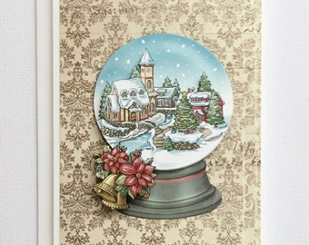 Christmas Village Snow Globe Greetings Card, Paper Tole Christmas Card