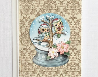 Winter Owls Snow Globe Greetings Card, Paper Tole Christmas Card
