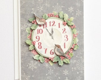 Christmas Floral Bird Clock Greetings Card, Paper Tole Christmas Card