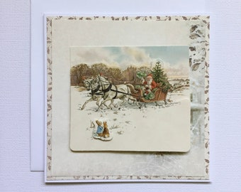 Peter Rabbit And Father Christmas Greetings Card, Beatrix Potter Character Greetings Card