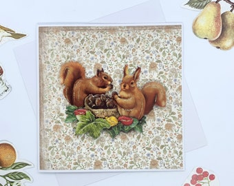 Autumn Time Squirrels And Chestnuts Greetings Cards, Paper Tole Greetings Card
