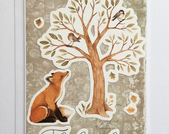 Autumn Fox And Bird Greetings Card, Thinking of You Card, Cards For Nature Lovers
