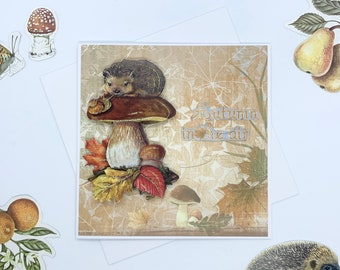 Hedgehog on Toadstool Autumn/Fall Card, Paper Tole Greetings Card