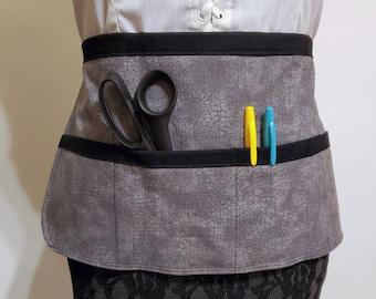grey and turquoise apron Grey Newsprint Utility apron vendor apron gift for her teacher apron tool apron