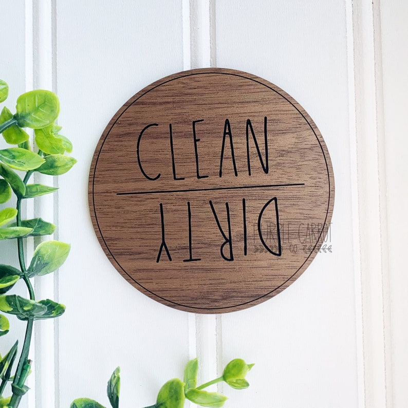 Clean Dirty Wooden Magnet, Custom Dishwasher Magnet, Dunn Inspired Magnet, Kitchen Decor, Wooden Decor, Housewarming Gift, Realtor Gift