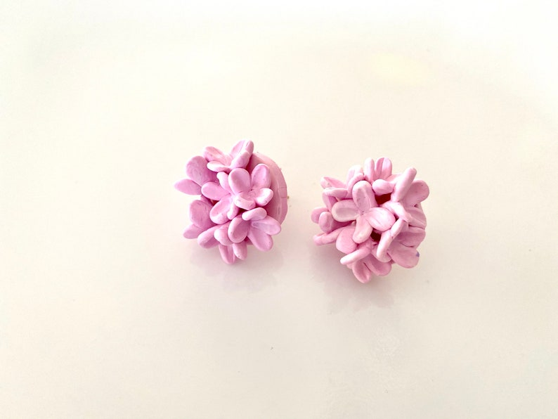 Statement Jeweley Clay Jewelry,Bridesmaid Earrings Floral Stud Earrings,Flower Earrings