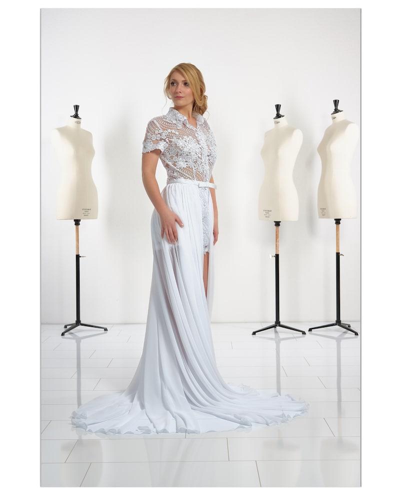 Unusual wedding lace jumpsuit light chiffon skirt | Stay at Home Mum