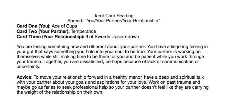 You/Your Partner/Your Relationship Tarot Card Reading