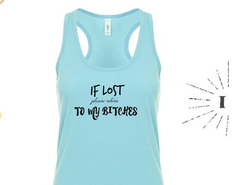 Ladies Vest Top If Lost Or Drunk I/'m The Bestie I/'m The Help Glitter Print