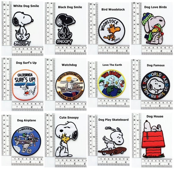 Snoopy Peanuts Patches Cartoon Kids Embroidered Dog Patches Iron On Sewing on