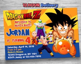 Dragon Ball Z Birthday Invitation With FREE Thank You Card Balls Digital
