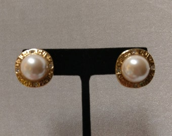 733c7979d Signed Vintage Givenchy Gold Plated Logo Faux Pearl Earrings with Crystals