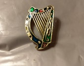 Vintage Enameled Celtic Harp Brooch Signed Miracle and Sol D 39 or
