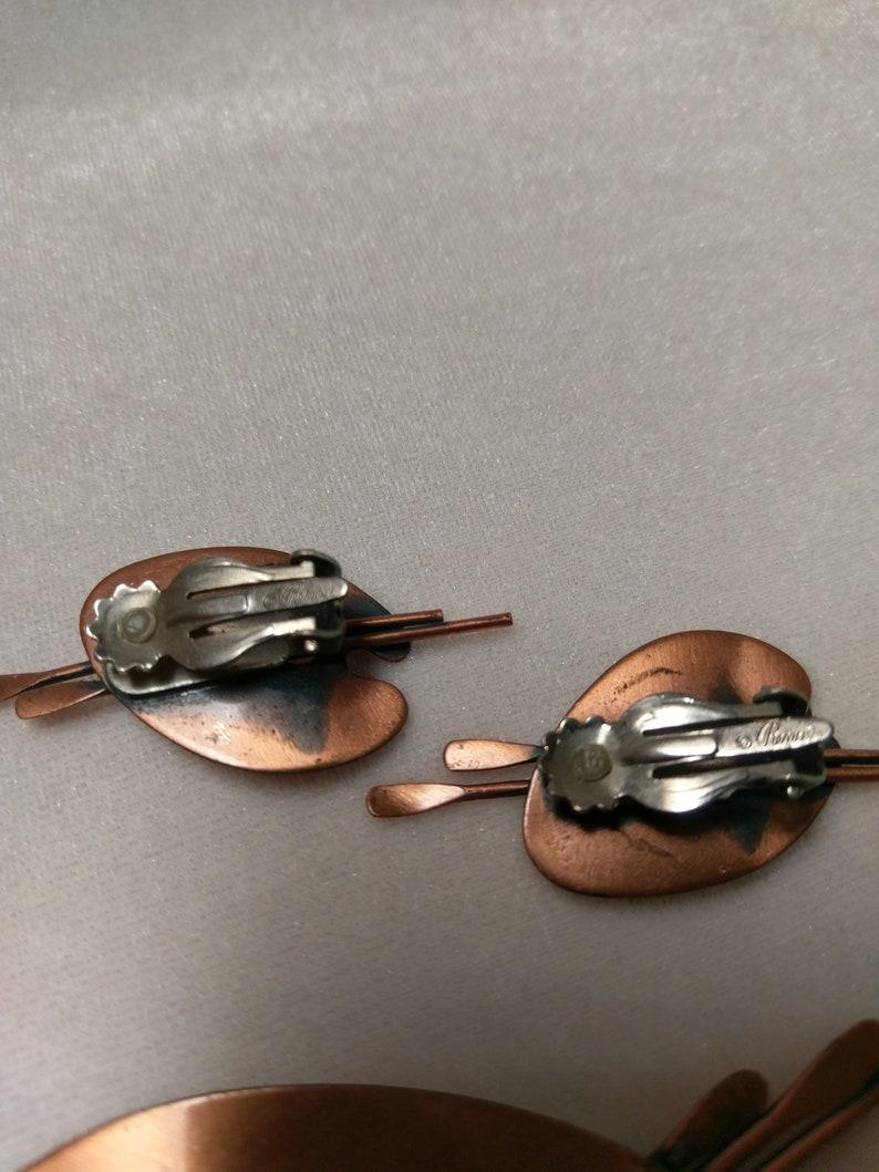 Vintage Renoir Copper Mid-century Demi Parure Paint Palette Brooch and Earrings Set