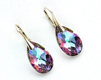 7e115da90 Swarovski Earrings Vitrail Light Teardrop Women Earrings Silver Hooks Swarovski  Jewelry Gift for Her