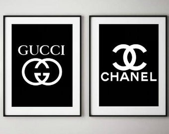 d096ee5a82 Gucci Poster - Gucci Wall Art - Coco Chanel Wall Art - Gucci Print - Chanel  Print - Chanel Poster - Gucci Printable - Set of 2 Prints