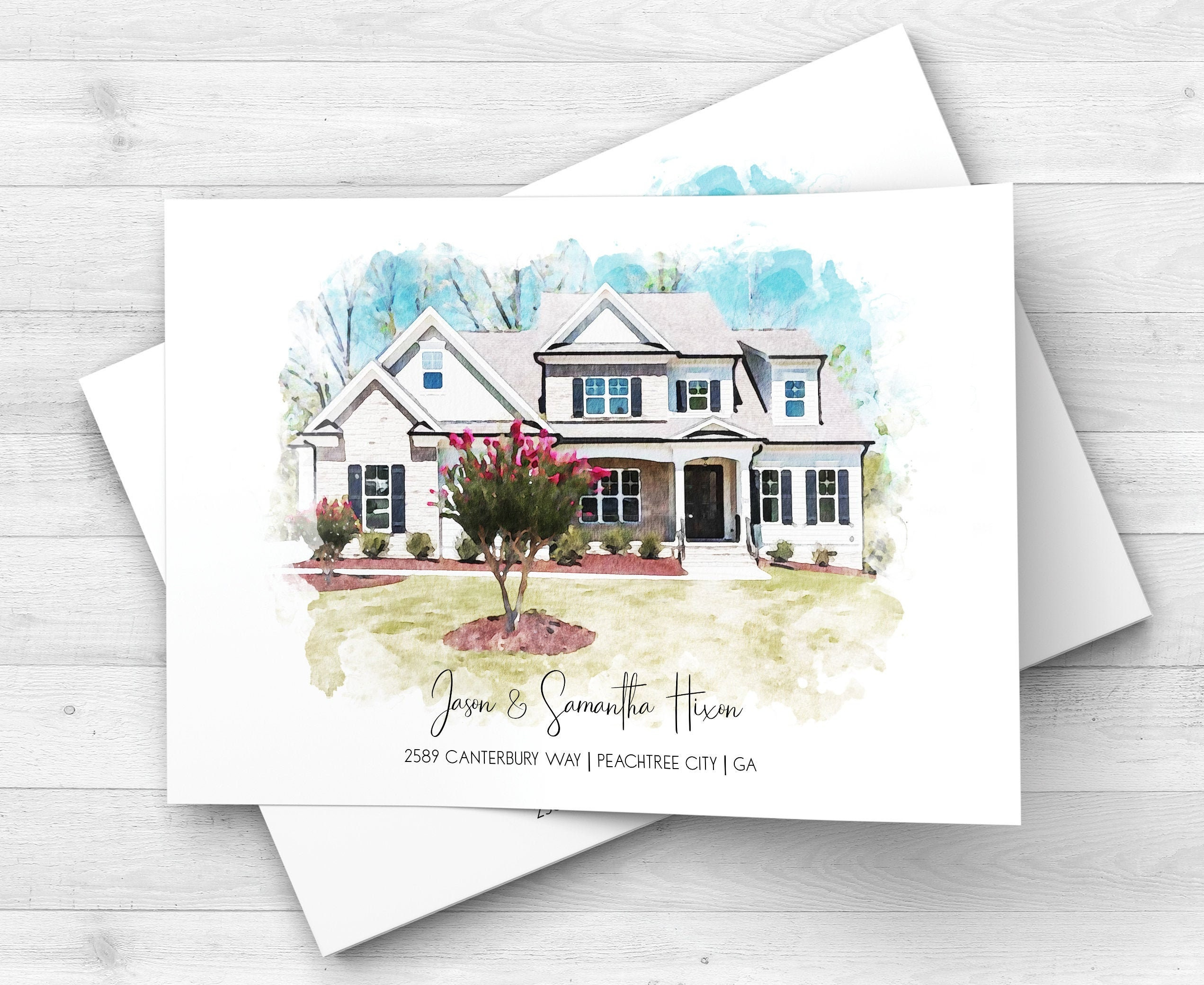 House Warming Gift Moving Away Present Watercolor Custom House Portrait Home Portrait