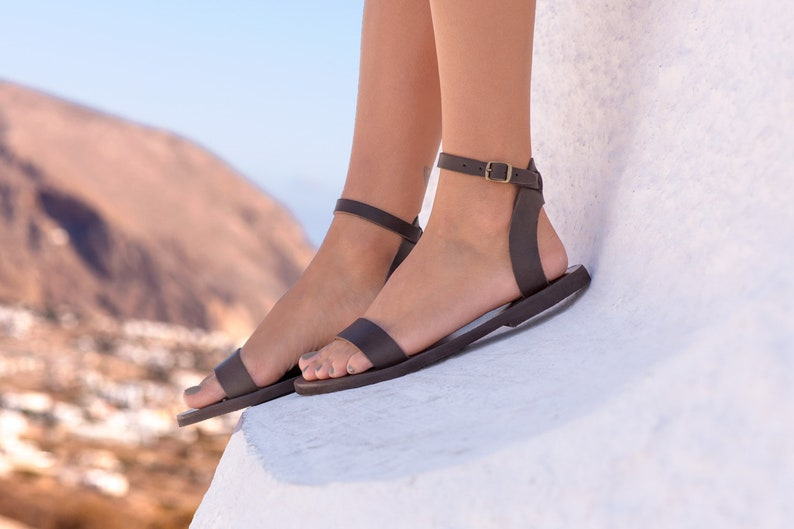 Brown sandals Leather sandals handmade sandals ankle strap sandals women sandals classic sandals Greek sandals Iris