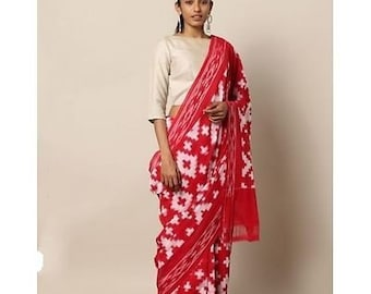 80196731370 Indian Traditional Red Pure Mulmul Cotton Batik Pompom Lace Work Saree With  Unstitched Blouse For Women Wear