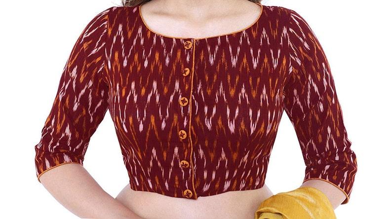Designer Maroon Ikkat Pure Cotton Blouse New Indian Designer Readymade Blouse For Women Wedding,Party Wear Saree Choli Top Tunic Sari Blouse