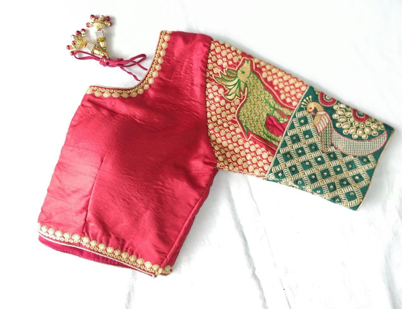Indian Designer Red Art Silk Embroidered Work Blouse  Ready made Blouse For Women Wedding,Party Wear Saree Choli Top Tunic Sari Blouse
