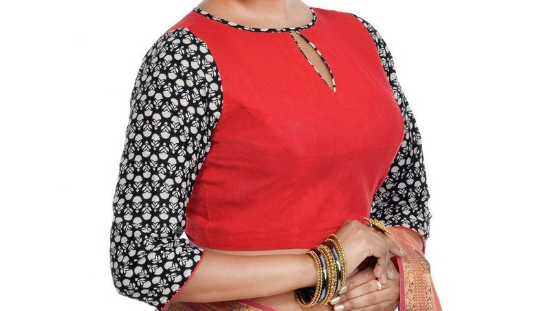 Red Cotton Printed Blouse New Indian Designer Readymade Blouse For Women Wedding,Party Wear Saree Choli Top Tunic Sari Blouse