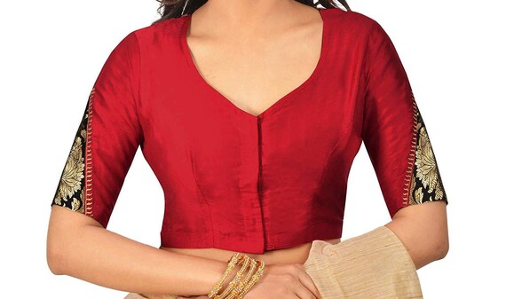 Indian Red Pure Cotton New Designer Readymade Choli Top Tunic Sari Blouse For Women Wear,Wedding Wear,Festive wear,Party Wear Blouse