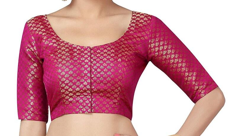 Beautiful Green Brocade Art Silk Full Sleeves New Indian Designer Readymade Blouse For Women Wedding Wear Saree Choli Top Tunic SariBlouse