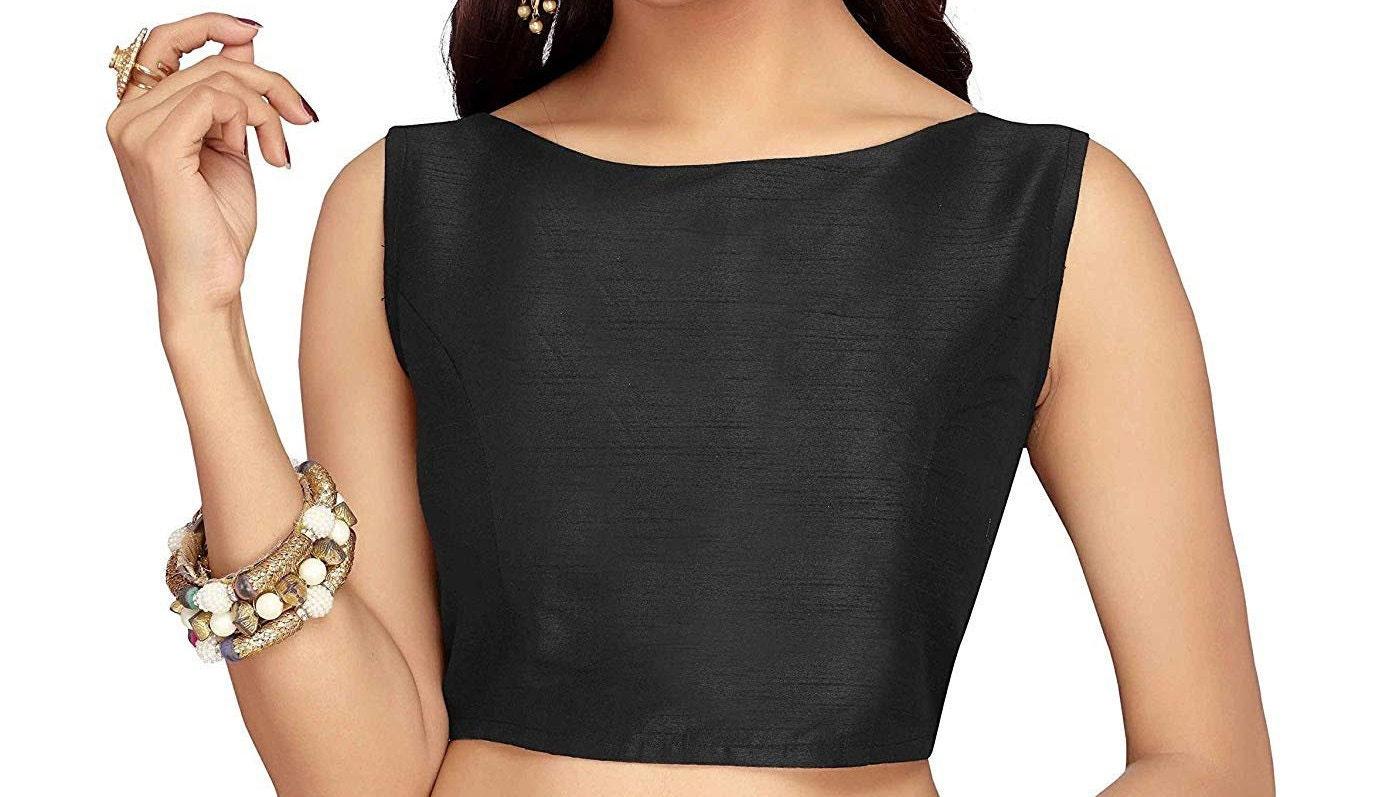 Black Raw Art Silk Blouse New Indian Designer Readymade Blouse For Women Wedding,Party Wear Saree Choli Top Tunic Sari Blouse