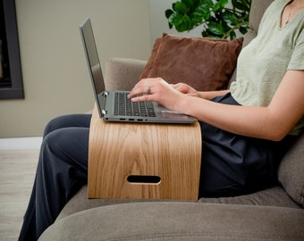Wooden Portable Lap Desk, Modern Laptop Stand, Home Office Accessory, Lightweight Computer Tray with Ventilation