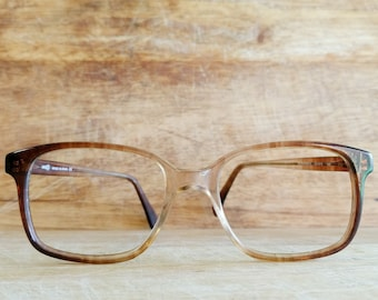 b37bb327cb 1980 vintage men brown clear prescription frames by Indo Durango II -  GENTLY USED