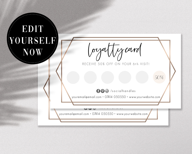 Editable Loyalty Card Template Customer Reward Card  Etsy With Regard To Reward Punch Card Template