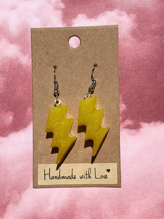 Yellow Lightning Bolt Earrings Etsy