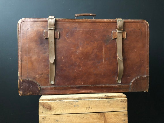 Brown Leather suitcase, steampunk suitcase, vintag