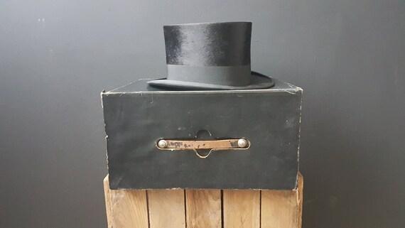 Authentic Black Steampunk Top Hat, Black Beaver Ha
