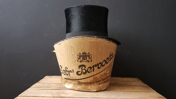 Steampunk hat and hat box, authentic Black Silk Ha