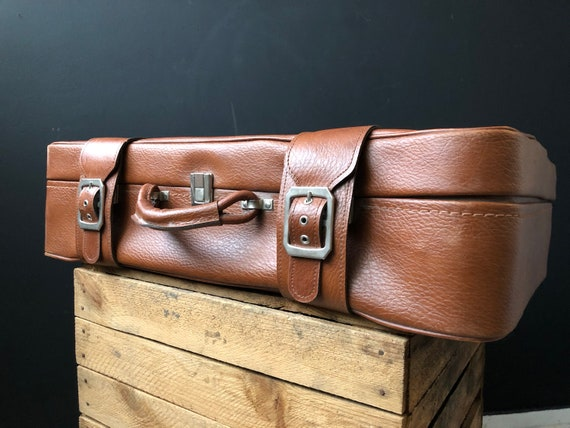 Retro Leather Suitcase, large vintage suitcase, vi