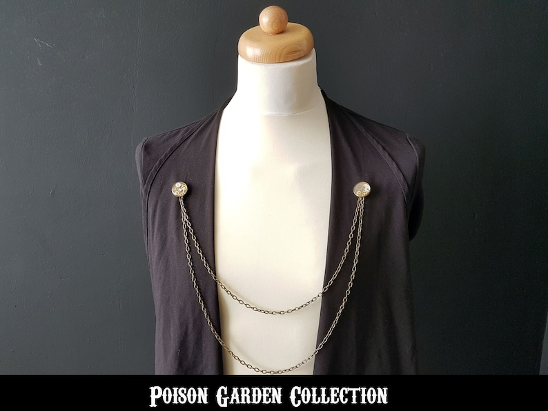 Cloak clasp, cloak pin, body chain, Steampunk lapel pin chain, cape clasp,  collar pin with chains, mens lapel pin, lapel brooch