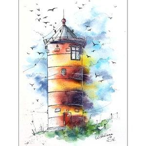 Lighthouse Painting Nautical Original Art Seaside Watercolor Wall Art 8 by 11 in by Svetlana Wittmann