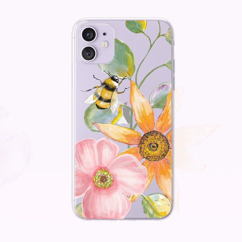 Watercolor Bumblebee Floral iPhone Case by Tiny Quail