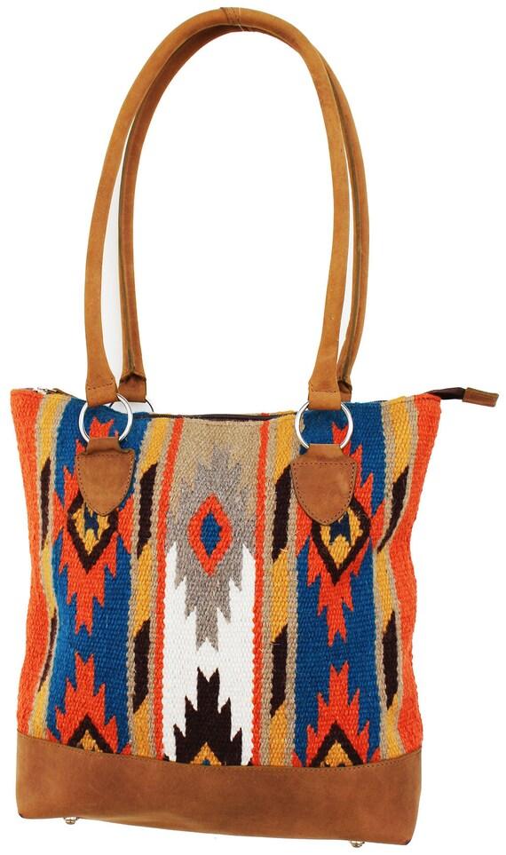 Western tote Saddle Blanket Bag Leather Fringe Small Southwestern tote Western Belt Strap Red Saddle blanket bag