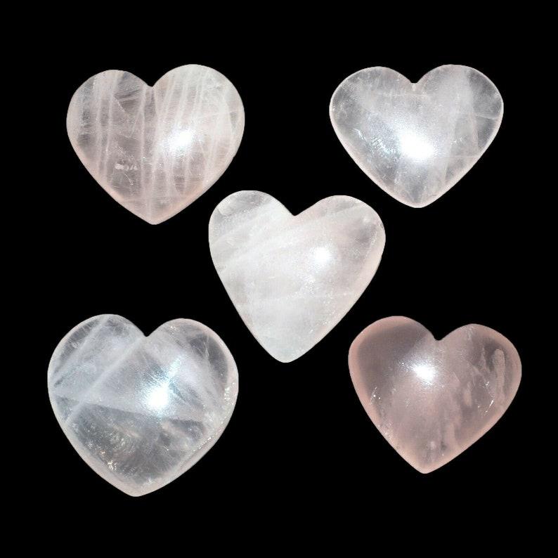 5 Pcs 26mm 29mm Natural Rose Quartz Heart Beautiful Pink Untreated Huge Gems
