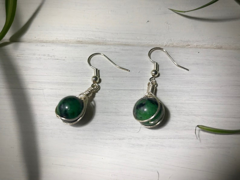 Ruby Zoisite Gem Stone  Dangle and Drop Ear Rings Silver Plate Ear Wire and Wire Wrapped Chakra Jewellery