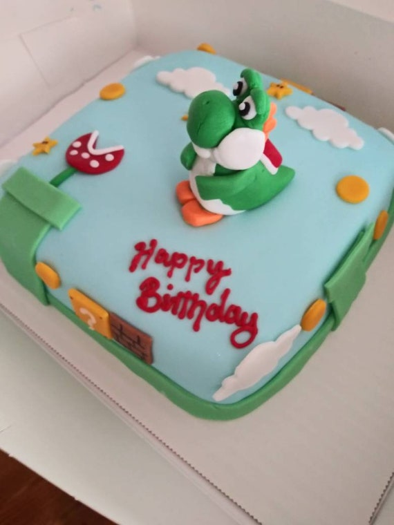 Remarkable Yoshi Cake Topper With Scene Including Coin Box Tunnels Etsy Funny Birthday Cards Online Necthendildamsfinfo