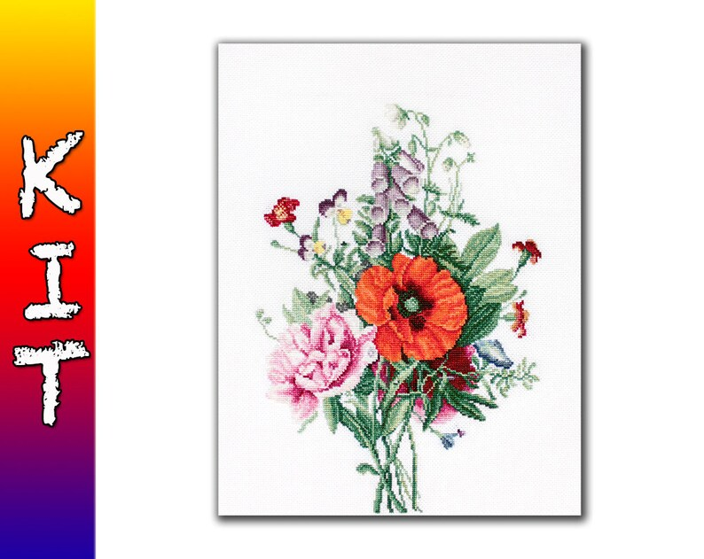 Cross stitch kit Luca-s Bouquet with Poppy and Peony