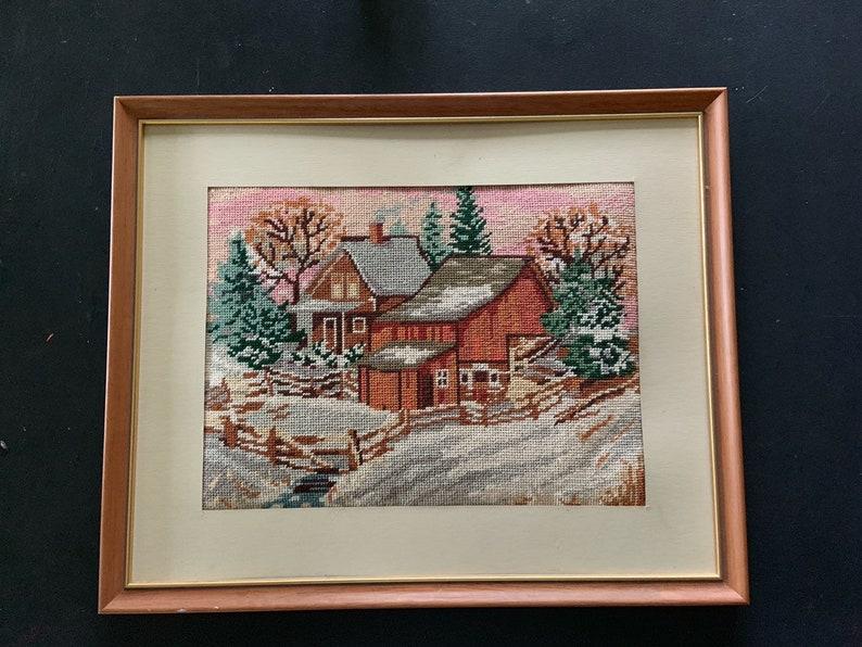 Vintage Frames Petit Point Needlepoint Picture