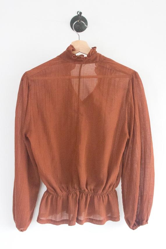 70's Gauzy Cotton Prairie Blouse - image 4