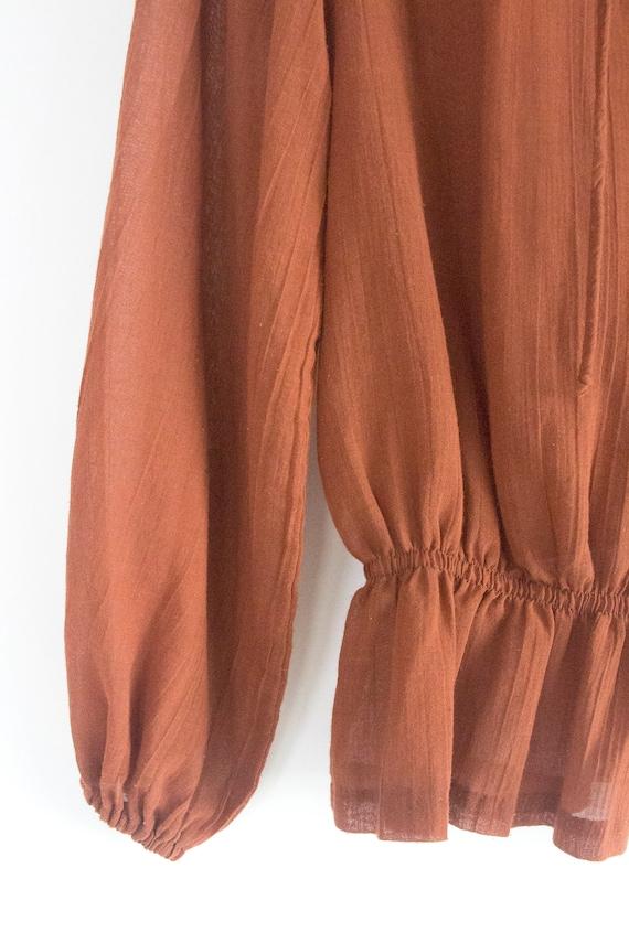 70's Gauzy Cotton Prairie Blouse - image 6