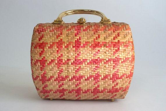 RARE Koret Pink Houndstooth Straw Handbag