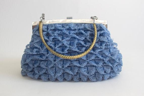 50's Metallic Crochet Handbag with Pearl Frame